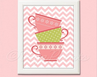 Pink and green teacup wall art print -UNFRAMED- baby girl nursery art,  chevron, zigzag, tea time, giel art print