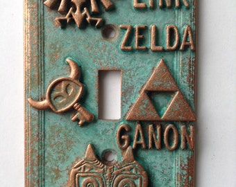 Zelda - Light Switch Cover - Aged Copper/Patina or Stone