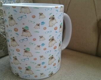 Hipster Pug Mug great present for Pug  dog lovers