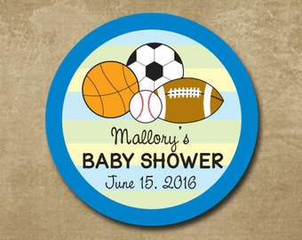 Sports Theme Baby Shower Favor Stickers, Baby Shower Personalized Labels, Buffet Stickers, Baby Boy Shower Gift Stickers