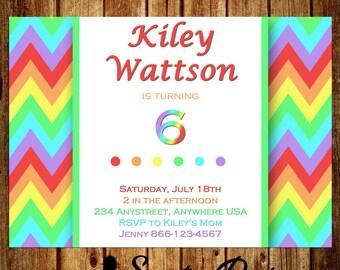 Fun Rainbow Chevron Birthday Invitation - DIGITAL - 5x7