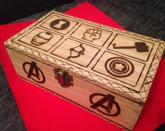 Avengers woodburned box
