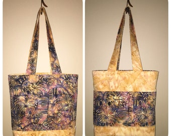 Reversible 6 Pocket Tote using Batik Fabric, Patriotic, Blue and Gold