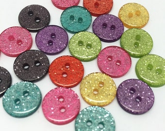 100pcs 13mm Glitter Buttons Resin 2 Holes Sewing Round Sparkly Button Botones For Scrapbooking Cardmaking Embellishments
