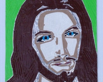Jesus - Duct Tape Painting - Handmade - Wall Art
