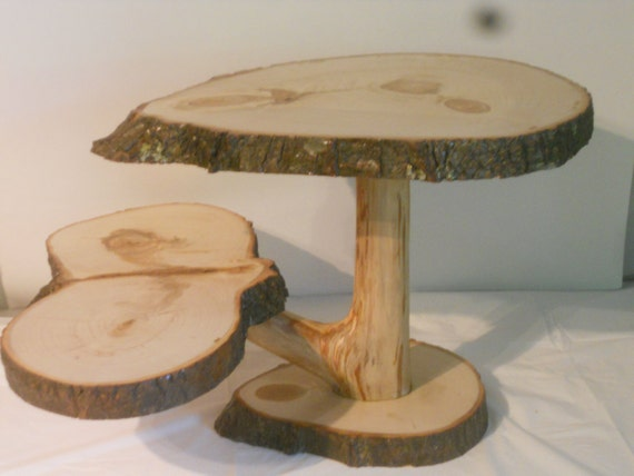 tree bark wedding cake stand large tree slice pedestal stand rustic by nazarethwoodcreation 21249