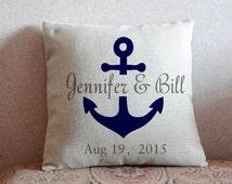 Navy blue anchor pillowcase,Custom name pillow cover,nautical decor pillow,Christmas gift couple cushion cover,wedding gift for couple#25952