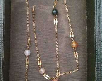 Mid-century agate bead and gold tone necklace
