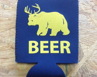 Beer (Bear + Deer) Can Cooler -  Neoprene