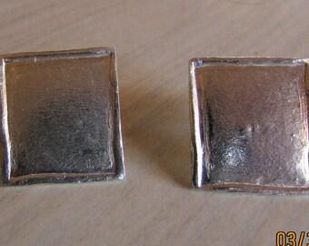Sterling Silver Rectangular Post Earrings