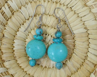 Turquoise Bead Earrings on Sterling Silver Wires