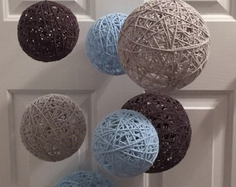 Mobile With Light blue, Charcoal & Light Gray Yarn Balls