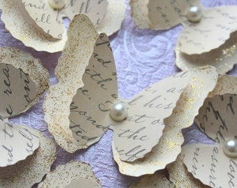 Cream Layered Butterflies Wedding Table Decoration / Bridal Shower/Party Decoration/Wall decor