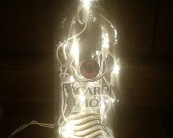 FREE SHIP** Light up bottle with yellow lights. Bottle night light. Plug in. Upcycled Bar Decor. Unique Gift. Liquor lights.***FREEE S&H***