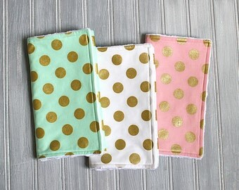 Baby Girl Burp Cloth Set of 3 - Metallic Gold Burp Cloths - Gold Burp Cloth - Baby Burp Cloth - Metallic Burp Cloths - Metallic Baby - Pink