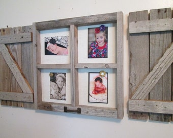 Rustic window frame magnet board - fabric covered, with shutters