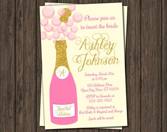 Champagne Bridal Shower Invitation - Pink and Gold Bubbly & Brunch Invite