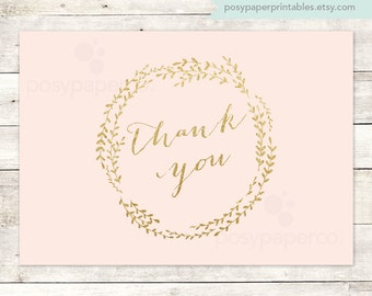 pink gold thank you cards printable DIY bridal baby wedding shower blush pink gold glitter wreath thank you cards - INSTANT DOWNLOAD