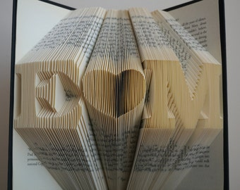 1st Wedding Anniversary - Folded Book Art - Anniversary Gift - Gift for Him - Gift for Her - Wedding Present - Personalized Gift