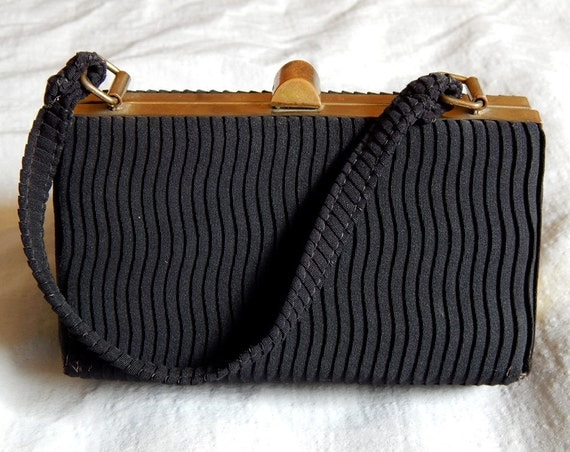 1930s Handbags and Purses Fashion Adorable Vintage Art Deco Handbag or Purse - Black with Brass Trim $35.00 AT vintagedancer.com