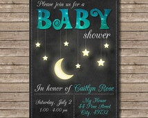 Chalkboard Moon and Stars Baby Shower Printable Party Invitation - Customized Digital File