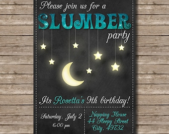 Chalkboard Moon and Stars Birthday Slumber Party Invitation - Customized Digital File
