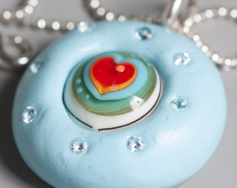 Polymer Clay Lampwork Bead Pendant Sterling Silver