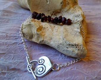 READY TO SHIP! - Garnet and Silver Gemstone Bracelet - January Birthstone Bracelet, Boho Bracelet, Gypsy Bracelet, Bohemian Jewelry