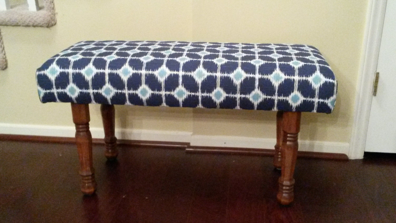 Upholstered bench blue and white White upholstered bench