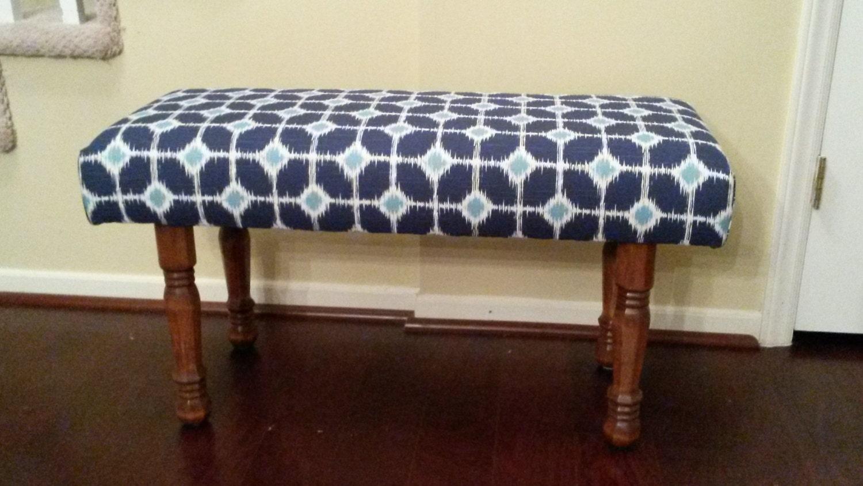 Upholstered bench blue and white White upholstered bench