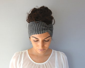 Gray Winter Headband, Knitted Ear Warmer, Fall Headband, Knit Headband, Soft Knitted Headband, Ear Warmer Headband, Gift For Daughter