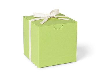 Favor Boxes, Chartreuse with Ivory Ribbon // set of 8