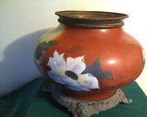 Oriental Planter / Floral designed, porcelain, Oval-shaped, Table/Floor Model