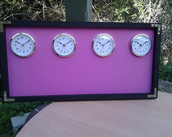 Breast Cancer Awareness,  The Original  Time Zone Chalkboard  Clock, With 3 Or 4 Clocks, Black Wood Frame