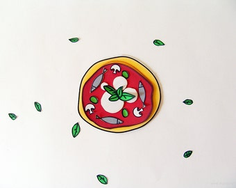 Let's make pizza, set of illustrations to create paper pizzas, fun and creative kids paper games, instant download