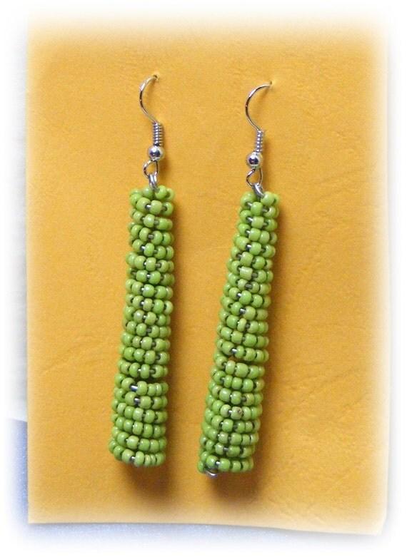 TINY GREEN BEADS Dangle Earrings (pierced)
