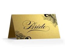 Peacock Gold Place Cards - Folded 87x50mm - Table Place Name Cards - Gold Pearl Shimmer Peacock Place Cards by Paper Charms