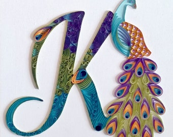 Custom Initial Peacock Wall Hanging: Quilling, Art, Wall Decor, Home Decor
