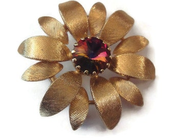 Vintage Gold Flower Brooch with Pink Vitrail Watermelon Rhinestone