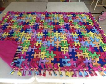 Hand tied, double sided, fleece Autism blanket