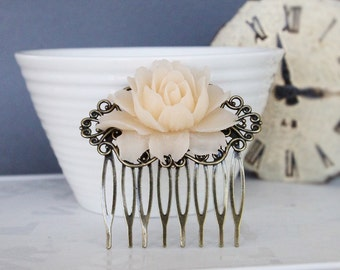 Vintage Cream Rose Comb Romantic Wedding Flower Comb Bridesmaid Gift Bridal Hair Comb Shabby Chic