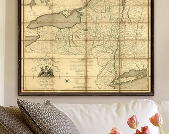 "New York State Map 1804 Vintage Upstate New York map, 4 sizes up to 45x36"" 115x90cm Large wall map of NY State - Limited Edition of 100"
