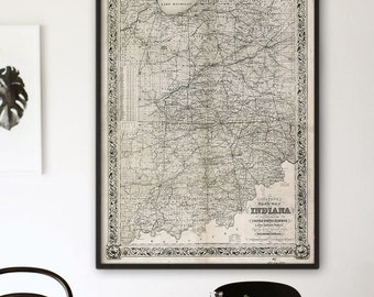 """Map of Indiana 1860, Vintage Indiana map, 4 sizes up to 36x48"""" Indiana state map poster, white, blue or beige - Limited Edition of 100"""