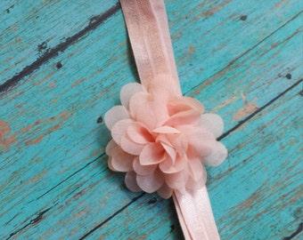 Peach Flower Headband, Peach Headband, Newborn Headband, Baby Girl Headband, peony, chrysanthemum, Infant headband, peach shabby chiffon
