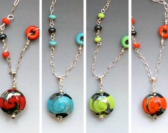Ginger Pendant in Red, Turquoise, Lime or Orange - glass beads with sterling silver components