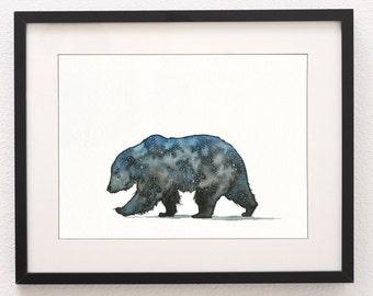 A4 Astro Bear Art Print, Bear Painting, Bear, Art Prints, Bear Print, Wall Art, Water Colour, Water Color, Bear, Nursery Art, Nursery Print