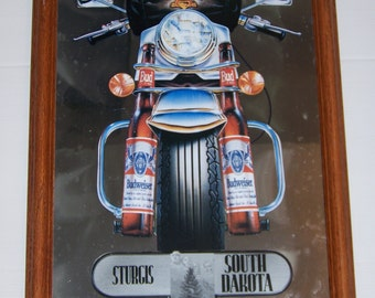 Vintage Budweiser Sturgis South Dakota Biker Mirror August 1991 Collectible Motorcycle Rally Souvenir
