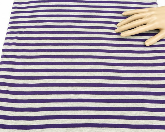 Stripe Printed Knit Jersey Fabric Purple And Heather Light