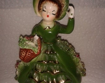 EXCELLENT Arnart Figurine - Dark Green holding basket