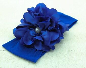Baby Headband, Royal Blue Headband, Blue Flower Headband, Photo Prop, Baby Nylon Headband, Toddler Blue Headband, Baby Nylon Headband, 847